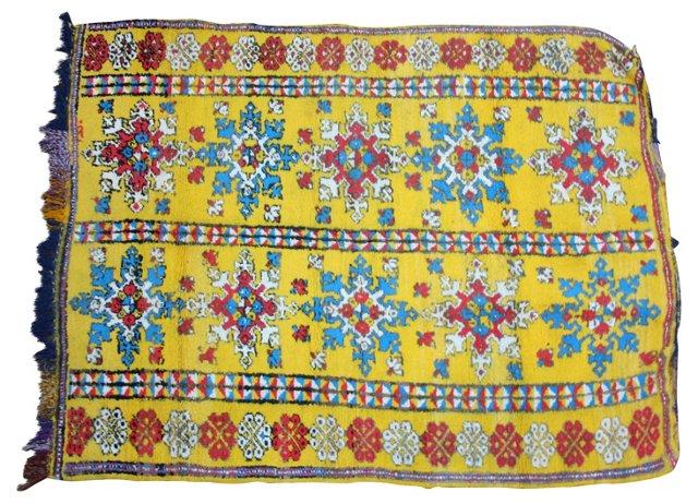 """Moroccan Rug w/ Blue Motif, 4'7"""" x 3'5"""""""