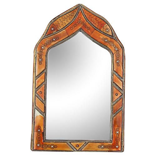 Orange Moroccan Mirror w/ Bone Inlay