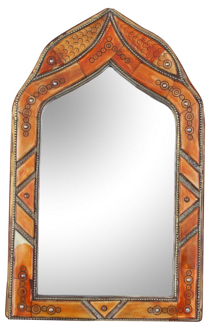 Orange Moroccan Mirror w/ Bone Inlay