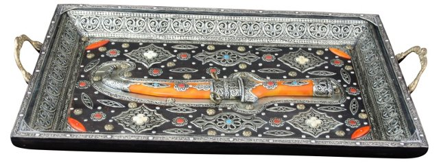Moroccan Berber Tray w/ Silver Inlay