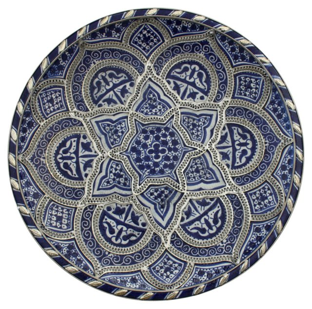 Blue & Silver Moroccan Wall  Plate