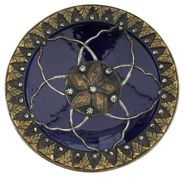 Moroccan Wall Plate w/  Silver Inlay