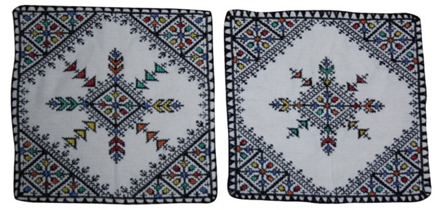 Hand-Embroidered Moroccan Shams,  Pair