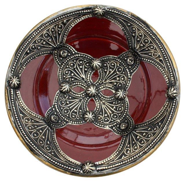 Moroccan Ceramic Bowl w/ Silver Inlay