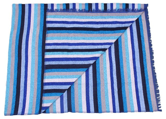 Moroccan Blue-Striped Silk Throw