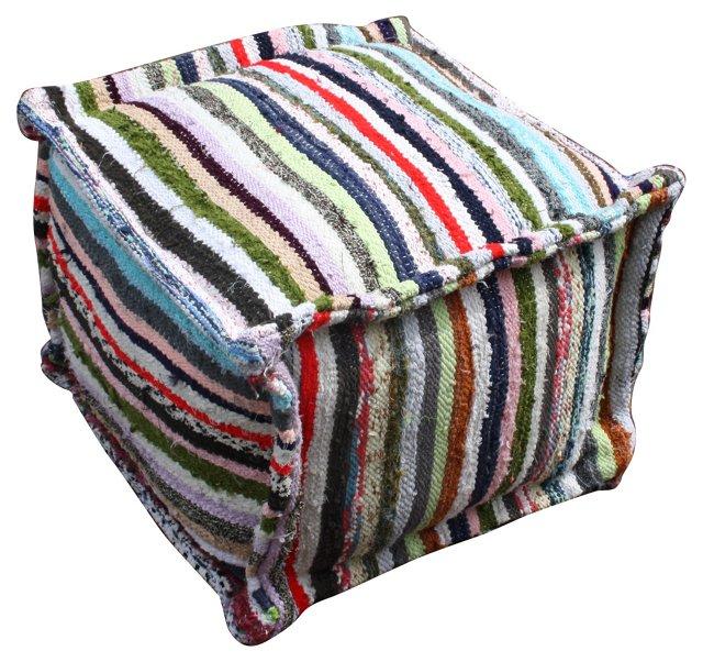 Striped Moroccan  Berber Pouf