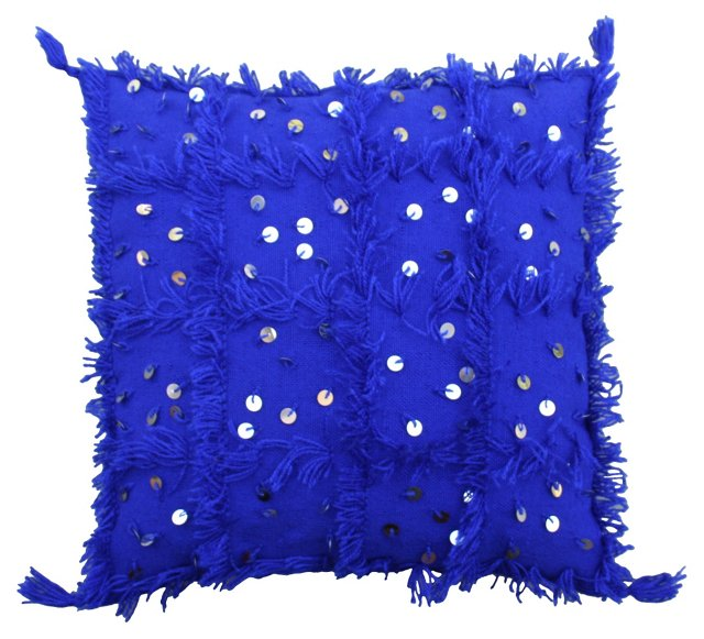 Moroccan  Blue Berber Sham w/ Sequins