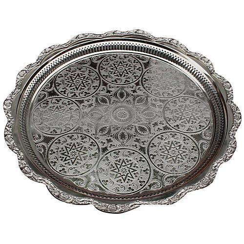 Moroccan Silver Tray w/ Ornate Pattern