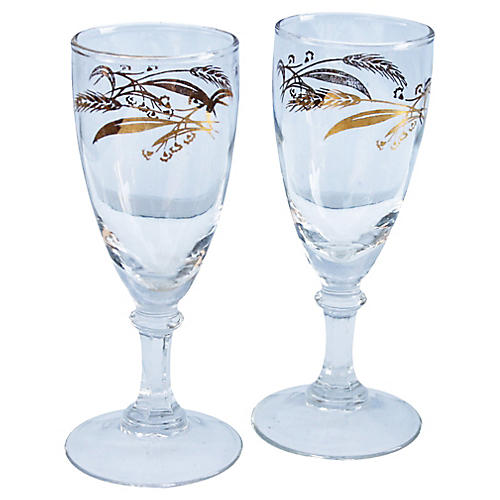 Golden Wheat Pattern Cordial Stems, S/2