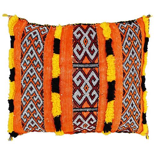 Orange Berber Pillow w/ Fine-Motifs