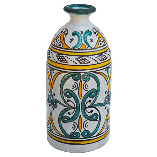 Orange Moroccan Vase w/ Ornate Pattern