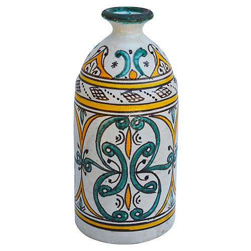 Orange Moroccan Vase w/ Ornate Pattern