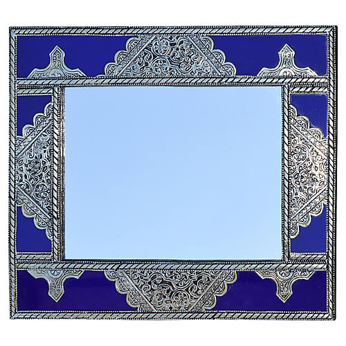 Blue & Silver Moroccan Mirror