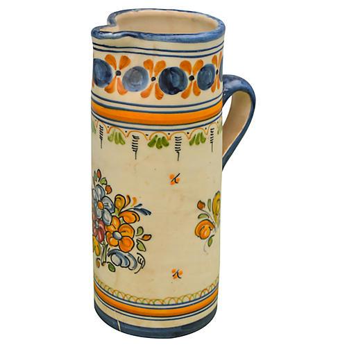 Blue & Orange Moroccan Ceramic Pitcher