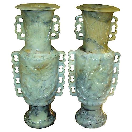 Hand-Carved Jadeite Vases, Pair