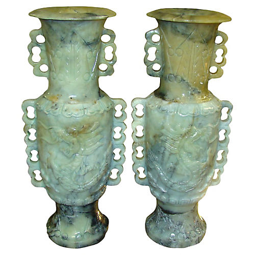 Hand-Carved Jadeite Vases, Pair