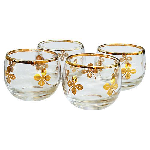 Midcentury Gold-Leaf Design Glasses, S/4