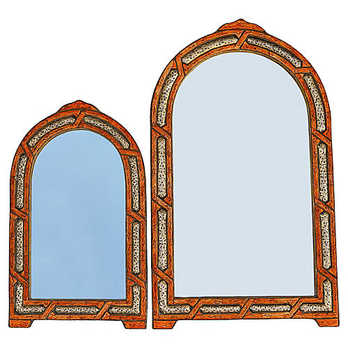 Orange & Brass Moroccan Mirrors, S/2