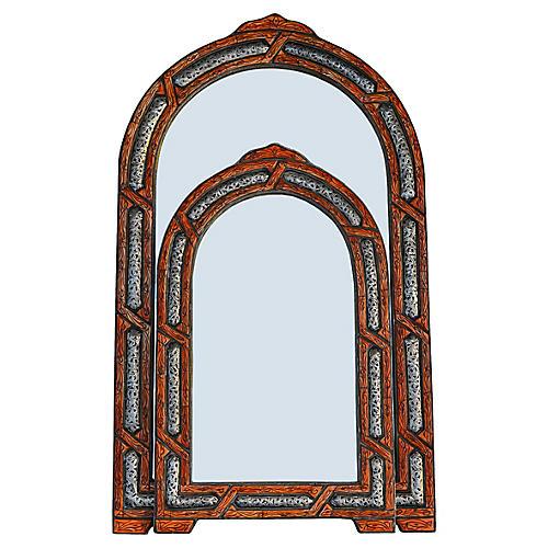Orange & Brass Moroccan Mirrors, S/2