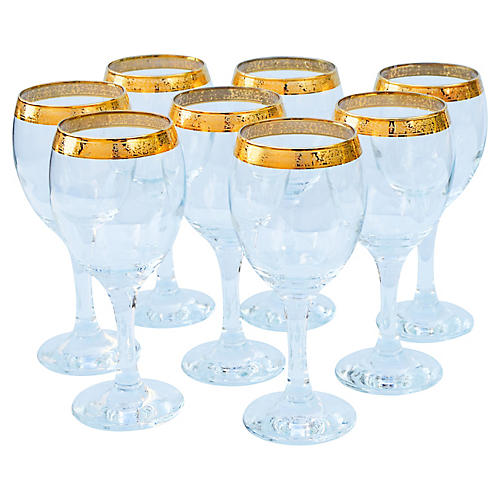 Wineglasses w/ Gold Pattern, S/8