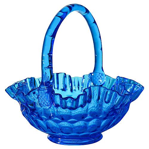 Handblown Blue Art Glass Basket
