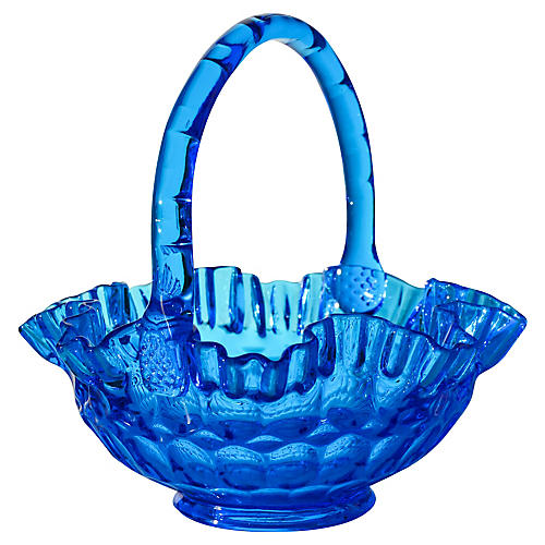 Handblown Blue Art Glass Basket