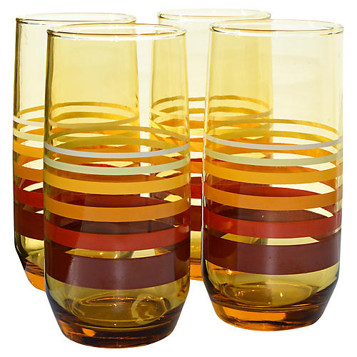 Midcentury Striped Highballs, S/4