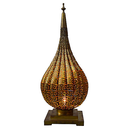 Moroccan Table Lamp w/ Brass Engravings