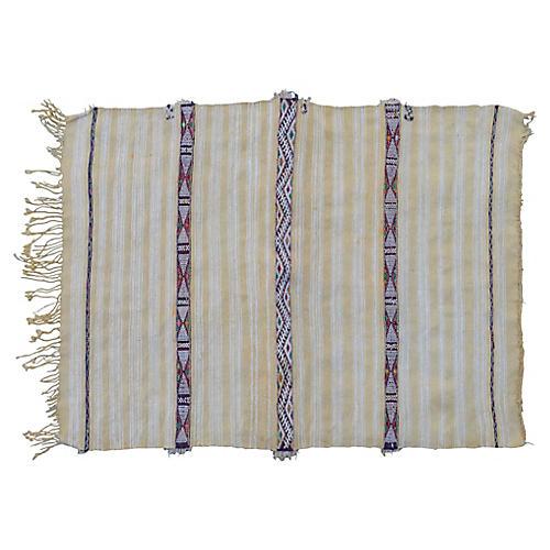 Moroccan Handira w/ Stripes & Silk Motif