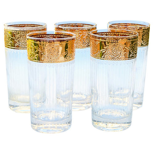 Midcentury Gold Pattern Highballs, S/5