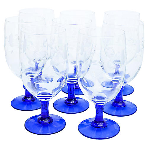 Blue Stem Glasses w/ Floral Pattern, S/8