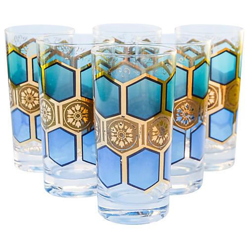 Midcentury Gold-Pattern Highballs, S/6