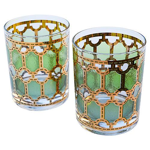 Gold & Green Rocks Glasses, S/2
