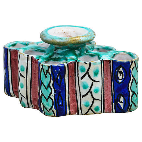 Moorish Ceramic Inkwell & Candle Holder