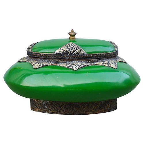 Moroccan Engraved Green Box