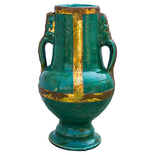 Moroccan Ceramic Vase w/ Brass Inlay