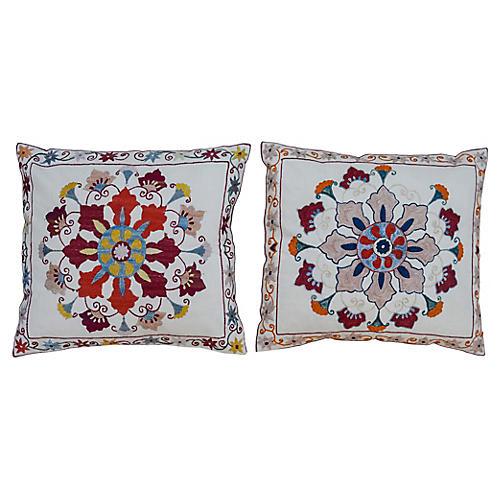 Floral Pattern Pillows, Pair