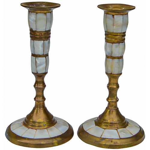 Brass & Pearl Inlaid Candleholders, S/2