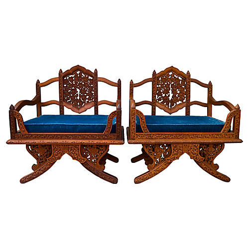 Anglo-Indian Carved Rosewood Chairs, S/2