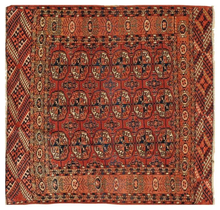 """Antique Turkmen Rug, 3'6"""" x 3'8"""""""