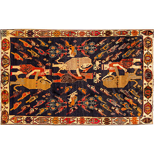 "Pictorial Gabbeh Rug, 5'2"" x 8'"