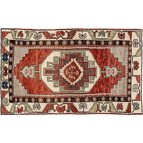"Antique Anatolian Rug, 3'7"" x 6'"