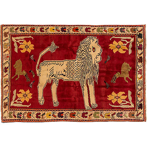 "Pictorial Gabbeh Rug, 4'5"" x 6'8"""