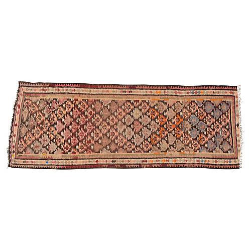 "Vintage Persian Kilim, 3'7"" x 9'3"""