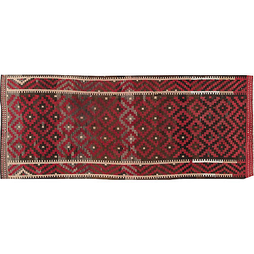 "Vintage Persian Kilim, 4' x 10'4"""