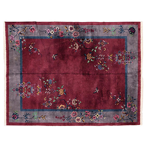 """Red Chinese Art Deco Rug 8'8"""" x 11'8"""""""