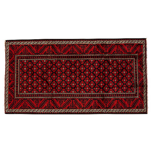 "Vintage Persian Rug, 4'1"" x 7'7"""