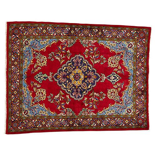 """Persian Tabriz Rug, 4'4"""" x 5'8"""""""
