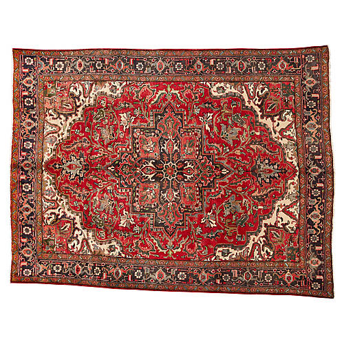 "Vintage Persian Heriz Rug, 9'6"" x 12'8"""