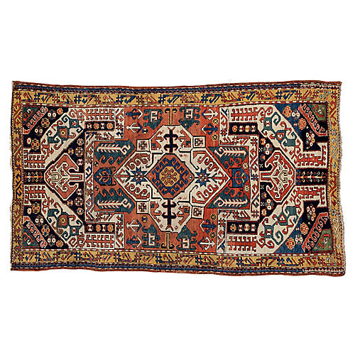 "Antique Caucasian Rug, 3'9"" x 6'7"""